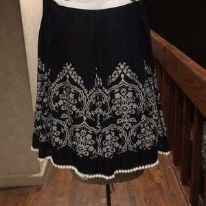 Ann Taylor Loft black cotton beaded flair skirt 0P